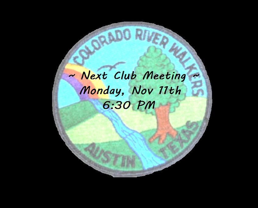 Next CRW Club Meeting is Nov. 11th