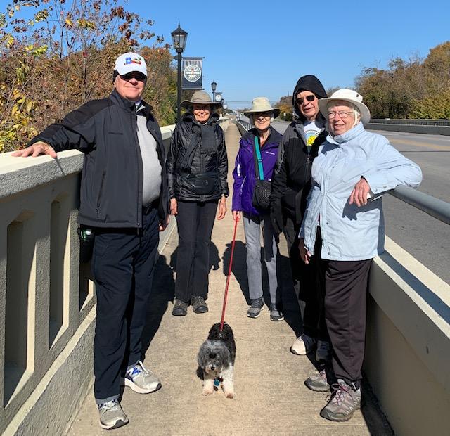 Doug, Jean, Mary, Larry and Carol on the bridge.