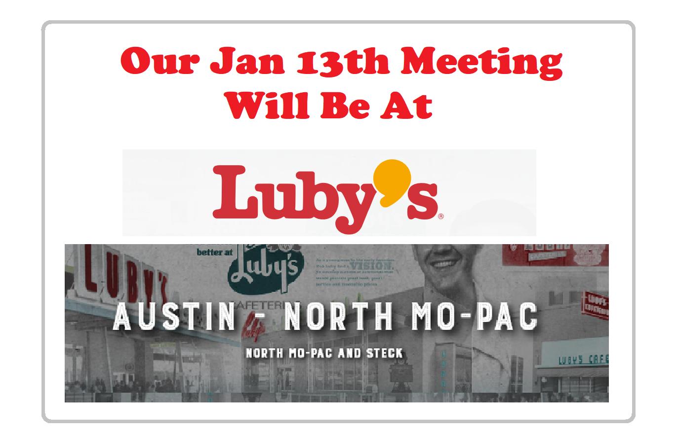 Next CRW Club Meeting is Jan 13th