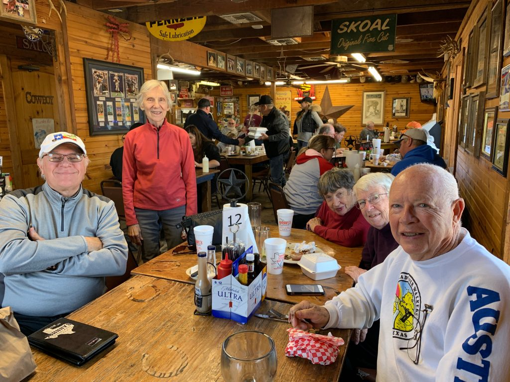 CRW members at lunch after the group walk in Salado.